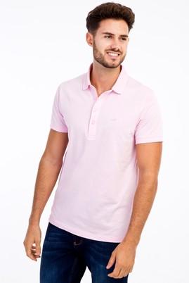 Erkek Giyim - Pembe XL Beden Polo Yaka Slim Fit Tişört