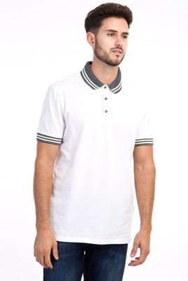 Erkek Giyim - Beyaz XL Beden Polo Yaka Regular Fit Tişört