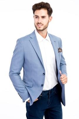 Erkek Giyim - Açık Mavi 48 Beden Slim Fit Klasik Kuşgözü Ceket