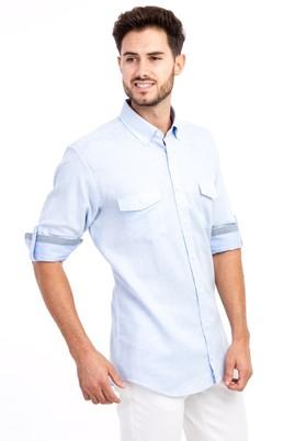 Erkek Giyim - MAVİ 4X Beden Uzun Kol Desenli Gömlek