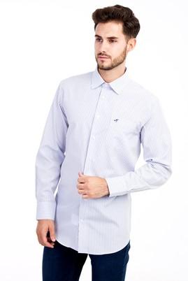 Erkek Giyim - Beyaz 4X Beden Uzun Kol Çizgili Klasik Gömlek