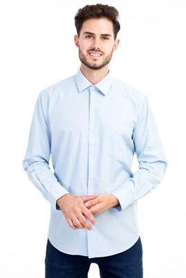 Erkek Giyim - Turkuaz M Beden Uzun Kol Ekose Klasik Gömlek