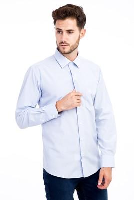 Erkek Giyim - Mavi XL Beden Uzun Kol Ekose Klasik Gömlek