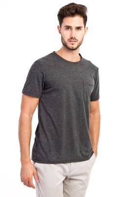 Erkek Giyim - Antrasit XXL Beden Bisiklet Yaka Slim Fit Tişört