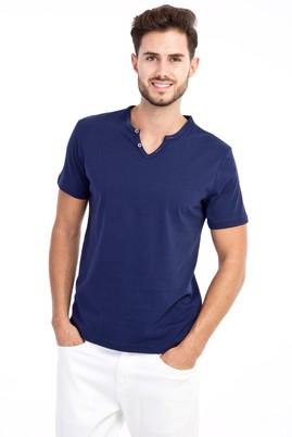 Erkek Giyim - Lacivert L Beden V Yaka Düğmeli Slim Fit Tişört
