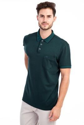 Erkek Giyim - Açık Yeşil L Beden Polo Yaka Desenli Regular Fit Tişört