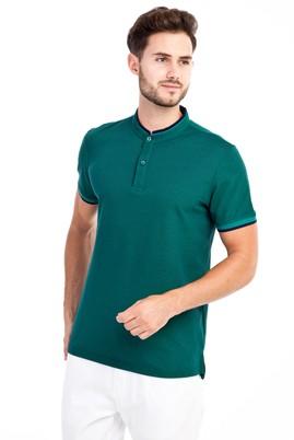 Erkek Giyim - Acık Yesıl 3X Beden Hakim Yaka Slim Fit Tişört
