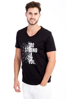 Erkek Giyim - Siyah M Beden V Yaka Baskılı Slim Fit Tişört