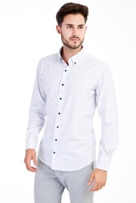 Erkek Giyim - Beyaz M Beden Uzun Kol Baskılı Gömlek