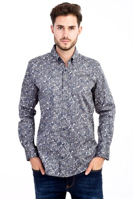 Erkek Giyim - KOYU YESİL L Beden Uzun Kol Baskılı Gömlek