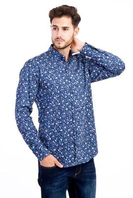 Erkek Giyim - Lacivert L Beden Uzun Kol Baskılı Gömlek