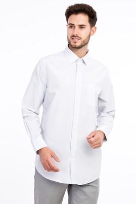 Erkek Giyim - Beyaz M Beden Uzun Kol Desenli Klasik Gömlek