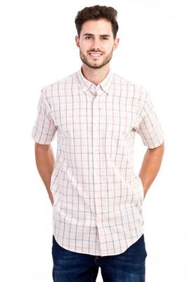 Erkek Giyim - Bej L Beden Kısa Kol Ekose Gömlek