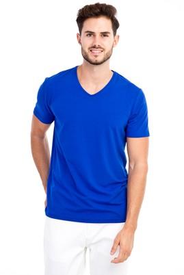 Erkek Giyim - KOYU MAVİ L Beden V Yaka Regular Fit Tişört
