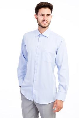 Erkek Giyim - Açık Mavi 3X Beden Uzun Kol Desenli Klasik Gömlek