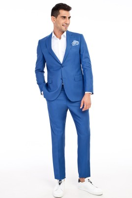Erkek Giyim - Mavi 52 Beden Regular Fit Takım Elbise