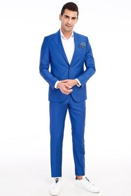 Erkek Giyim - Mavi 52 Beden Slim Fit Takım Elbise