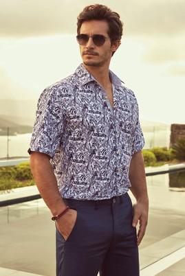Erkek Giyim - Beyaz M Beden Kısa Kol Desenli Gömlek