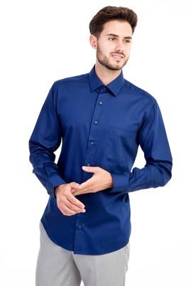 Erkek Giyim - Lacivert XL Beden Uzun Kol Non Iron Saten Klasik Gömlek