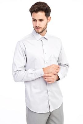Erkek Giyim - AÇIK GRİ 3X Beden Uzun Kol Non Iron Saten Klasik Gömlek