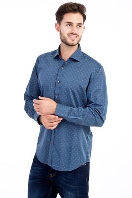 Erkek Giyim - Lacivert M Beden Uzun Kol Slim Fit Gömlek
