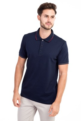 Erkek Giyim - Lacivert L Beden Polo Yaka Slim Fit Tişört