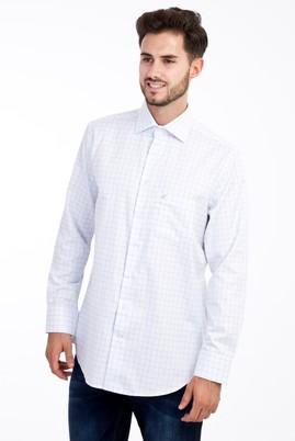 Erkek Giyim - Beyaz M Beden Uzun Kol Kareli Klasik Gömlek