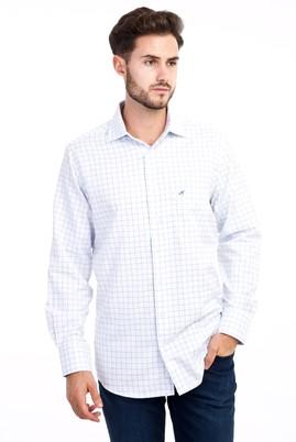 Erkek Giyim - Beyaz L Beden Uzun Kol Kareli Klasik Gömlek