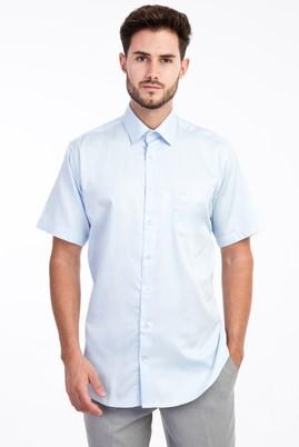 Erkek Giyim - Açık Mavi M Beden Kısa Kol Saten Gömlek
