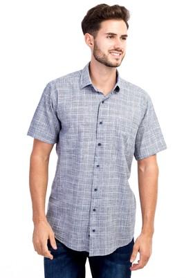Erkek Giyim - Siyah L Beden Kısa Kol Ekose Gömlek