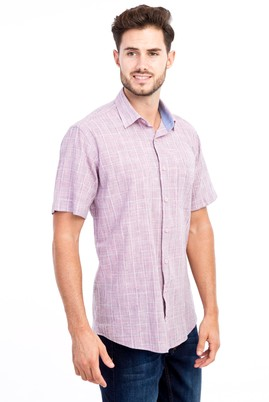 Erkek Giyim - Pembe XL Beden Kısa Kol Ekose Gömlek