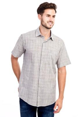Erkek Giyim - Açık Kahve - Camel M Beden Kısa Kol Ekose Gömlek