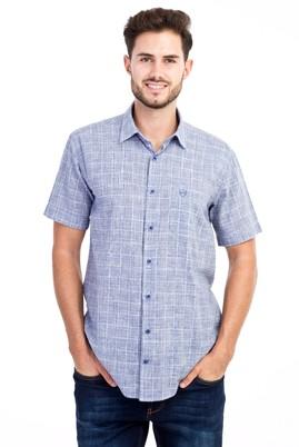 Erkek Giyim - KOYU MAVİ M Beden Kısa Kol Ekose Gömlek