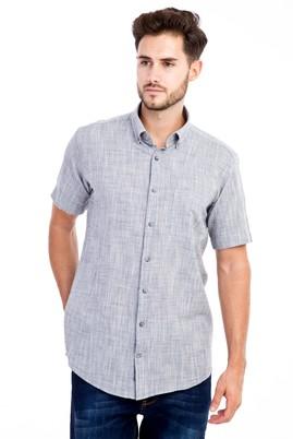 Erkek Giyim - Siyah L Beden Kısa Kol Desenli Gömlek