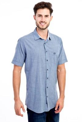 Erkek Giyim - KOYU MAVİ L Beden Kısa Kol Regular Fit Desenli Gömlek