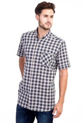Erkek Giyim - Açık Kahve - Camel 3X Beden Kısa Kol Ekose Gömlek