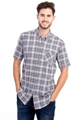 Erkek Giyim - HAKİ M Beden Kısa Kol Ekose Gömlek