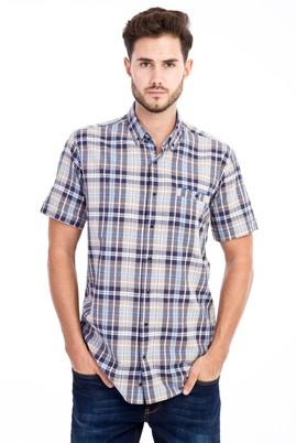 Erkek Giyim - Kahve XL Beden Kısa Kol Ekose Gömlek