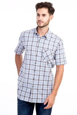 Erkek Giyim - Orta füme L Beden Kısa Kol Ekose Gömlek