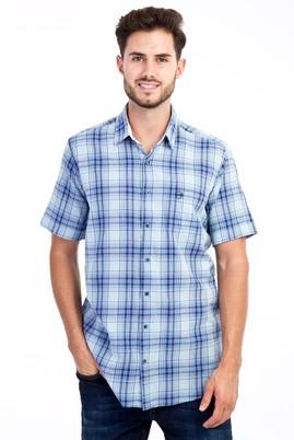 Erkek Giyim - Mavi M Beden Kısa Kol Ekose Gömlek