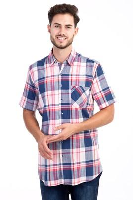 Erkek Giyim - Pembe L Beden Kısa Kol Ekose Gömlek