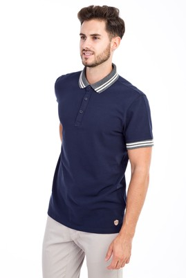 Erkek Giyim - Lacivert XL Beden Polo Yaka Regular Fit Tişört