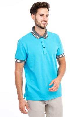 Erkek Giyim - Açık Mavi 3X Beden Polo Yaka Regular Fit Tişört