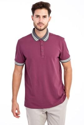Erkek Giyim - Mor L Beden Polo Yaka Regular Fit Tişört
