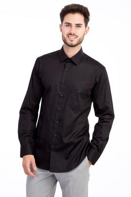 Erkek Giyim - SİYAH 4X Beden Uzun Kol Non Iron Saten Klasik Gömlek