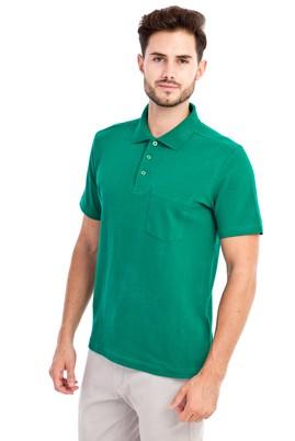 Erkek Giyim - Acık Yesıl XL Beden Polo Yaka Düz Regular Fit Tişört
