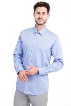 Erkek Giyim - Mavi 3X Beden Uzun Kol Non Iron Saten Klasik Gömlek