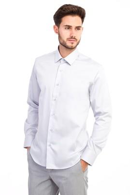 Erkek Giyim - Açık Gri L Beden Uzun Kol Non Iron Saten Slim Fit Gömlek