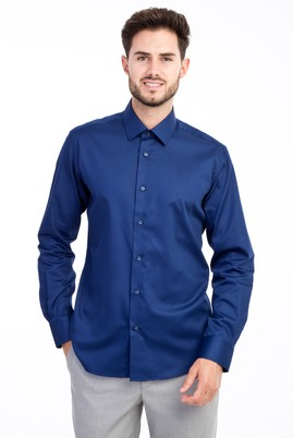 Erkek Giyim - Lacivert L Beden Uzun Kol Non Iron Saten Slim Fit Gömlek
