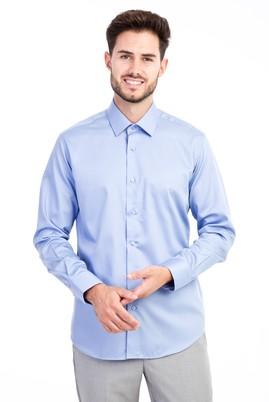 Erkek Giyim - Mavi M Beden Uzun Kol Non Iron Saten Slim Fit Gömlek